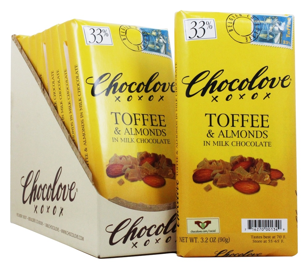 Chocolove Milk Chocolate Bars Box Toffee & Almonds 12 Bars by
