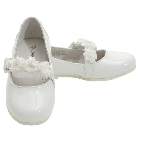 White Dress Shoes Toddler Girl (Little Girls White Patent Floral Dress Shoe Toddler Girl)
