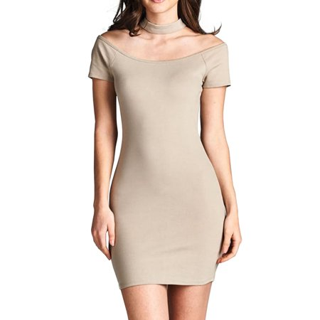 Womens Short Sleeve Off The Shoulder Choker Bodycon Ponte Mini Dress (Ponte Mini)