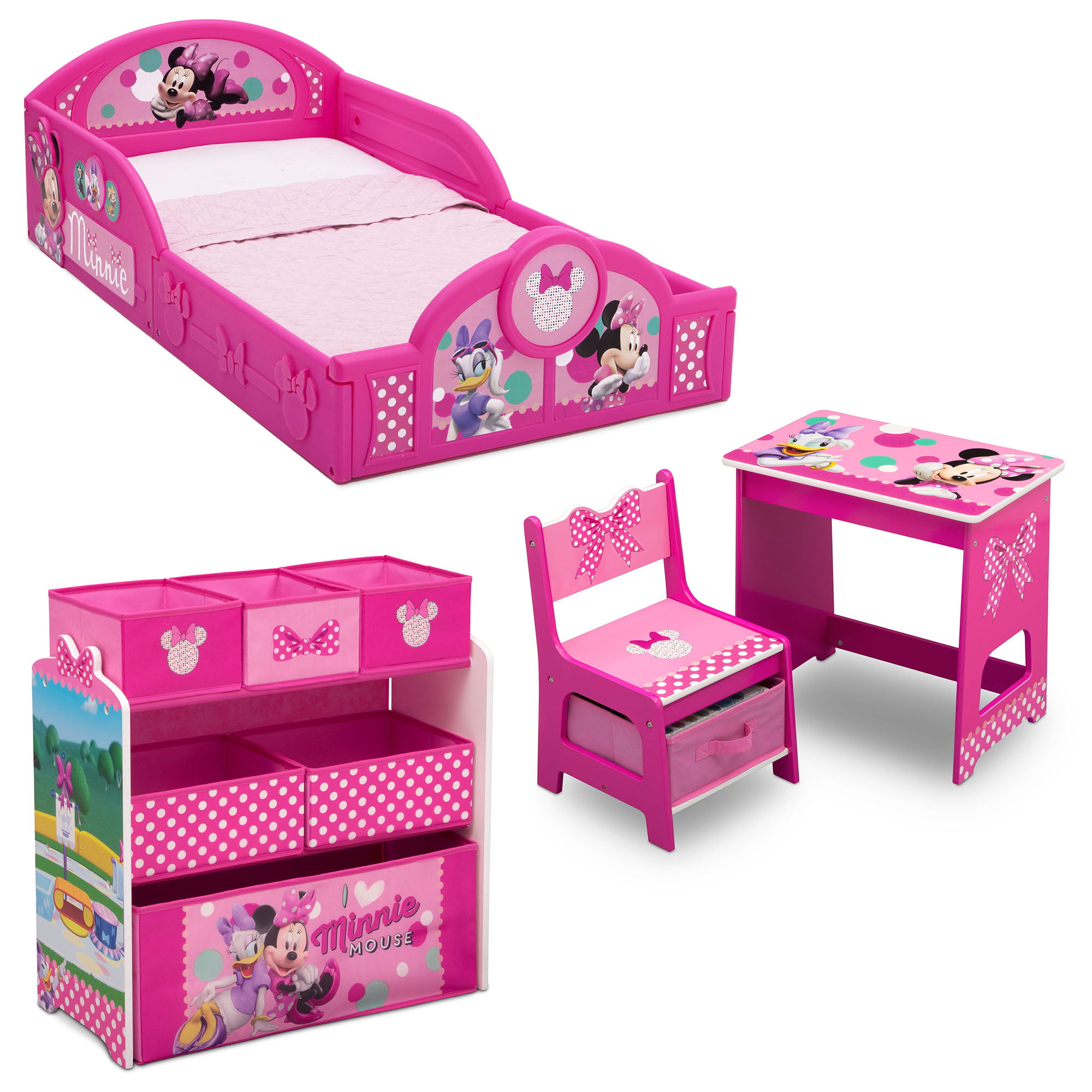 Disney Minnie Mouse 4 Piece Room In A Box Bedroom Set By Delta Children Includes Sleep Play Toddler Bed 6 Bin Design Store Toy Organizer And Desk With Chair Walmart Com Walmart Com