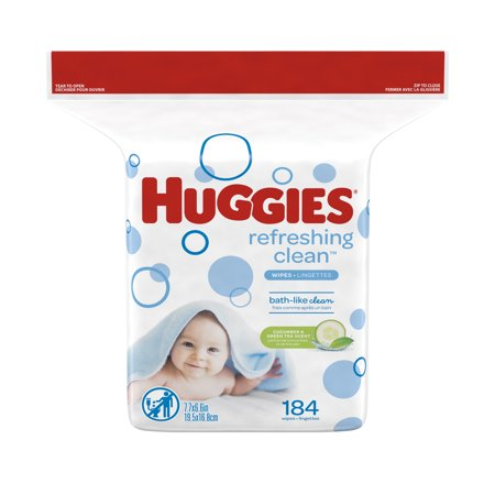 HUGGIES Refreshing Clean Baby Wipes Refill Pack (184 Total Wipes)