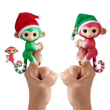 Fingerlings Interactive Baby Monkeys 2-Pack with Mini BFF - Holly (Green), Jolly (Red) and Merry (Red & White) - By WowWee