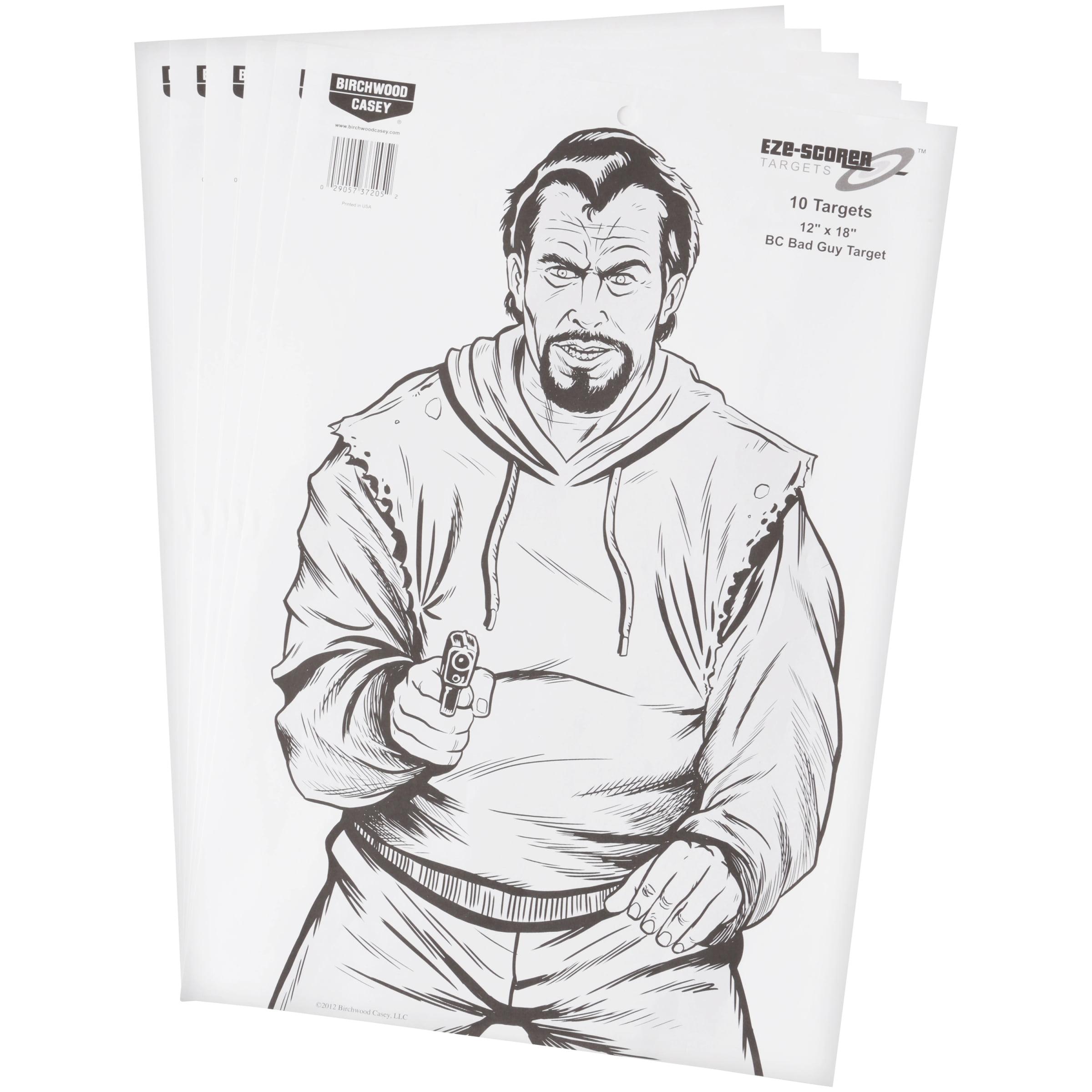 """Eze-Scorer™ 12"""" x 18"""" BC Bad Guy Paper - 10 targets"""