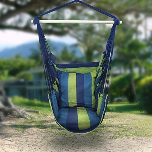 Ktaxon Hammock Hanging Rope Chair Patio Camping Porch Swing Seat Portable Blue Stripe with 2 Pillows