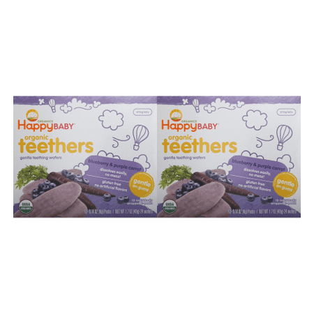 (2 Pack) Happy Baby Gentle Teethers Organic Teething Wafers, Blueberry & Purple Carrot, 12