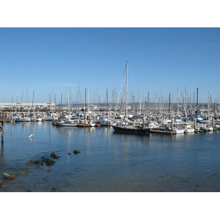 Bay Harbor Marina (LAMINATED POSTER Bay Marina Sea Port Sailboat Harbor Yachting Dock Poster Print 24 x 36)