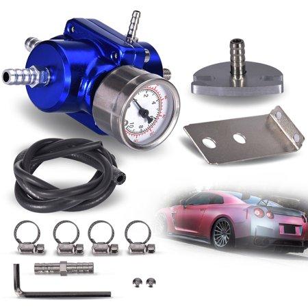Universal 0-140 Psi Adjustable Fuel Pressure Regulator W/ Gauge Blue