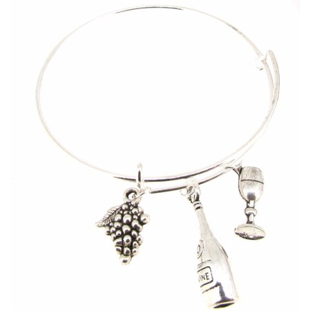 Silverplate Wine Bottle (Expandable Bangle Bracelet Wine Bottle Wine Glass Grapes Silver)