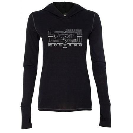 - Womens Ford Mustang Honeycomb Grille Hoodie Tee Shirt - Black
