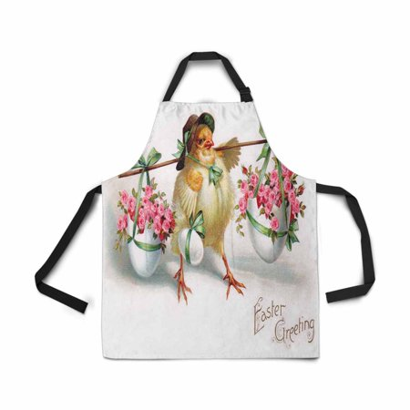 ASHLEIGH Adjustable Bib Apron for Women Men Girls Chef with Pockets Vintage Easter Egg Chick Novelty Kitchen Apron for Cooking Baking Gardening Pet Grooming Cleaning