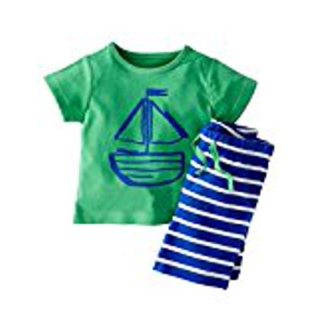 Kidlove Lovely Stripe Cute Cartoon Toddler Kids Baby Boy Clothes Cotton Tops&Pants Set