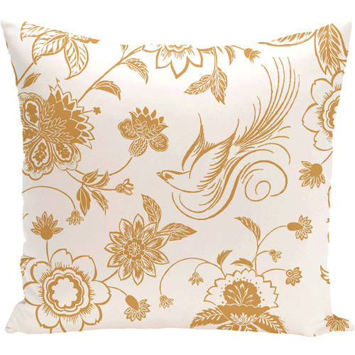 """Simply Daisy 16"""" x 16"""" Traditional Bird Floral Floral Print Pillow"""