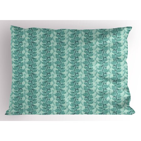 Tree Pillow Sham Oaks with Acorns Forest Design with Lush Leaves and Flourishing Branches, Decorative Standard Queen Size Printed Pillowcase, 30 X 20 Inches, Slate Blue Sea Green, by - Dark Blue Skate