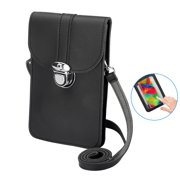 """Cell Phone Bag, PU Leather Crossbody Cellphone Purse for Women, Touch Screen Cell Phone Pouch Holder Shoulder Bag with Clear Window Pockets Straps Fit for iPhone, Samsung Galaxy and More 6.5"""" Phones"""