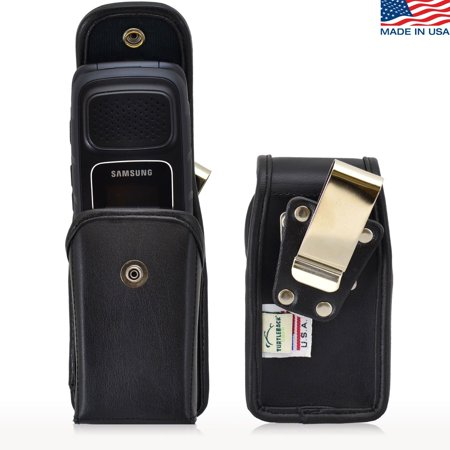 Pouch Snap - Turtleback Holster Compatible with Samsung Rugby, 4 Flip Phone Pouch Case, Snap Closure (Black Leather Snap/ Rotating Clip) - Made in USA