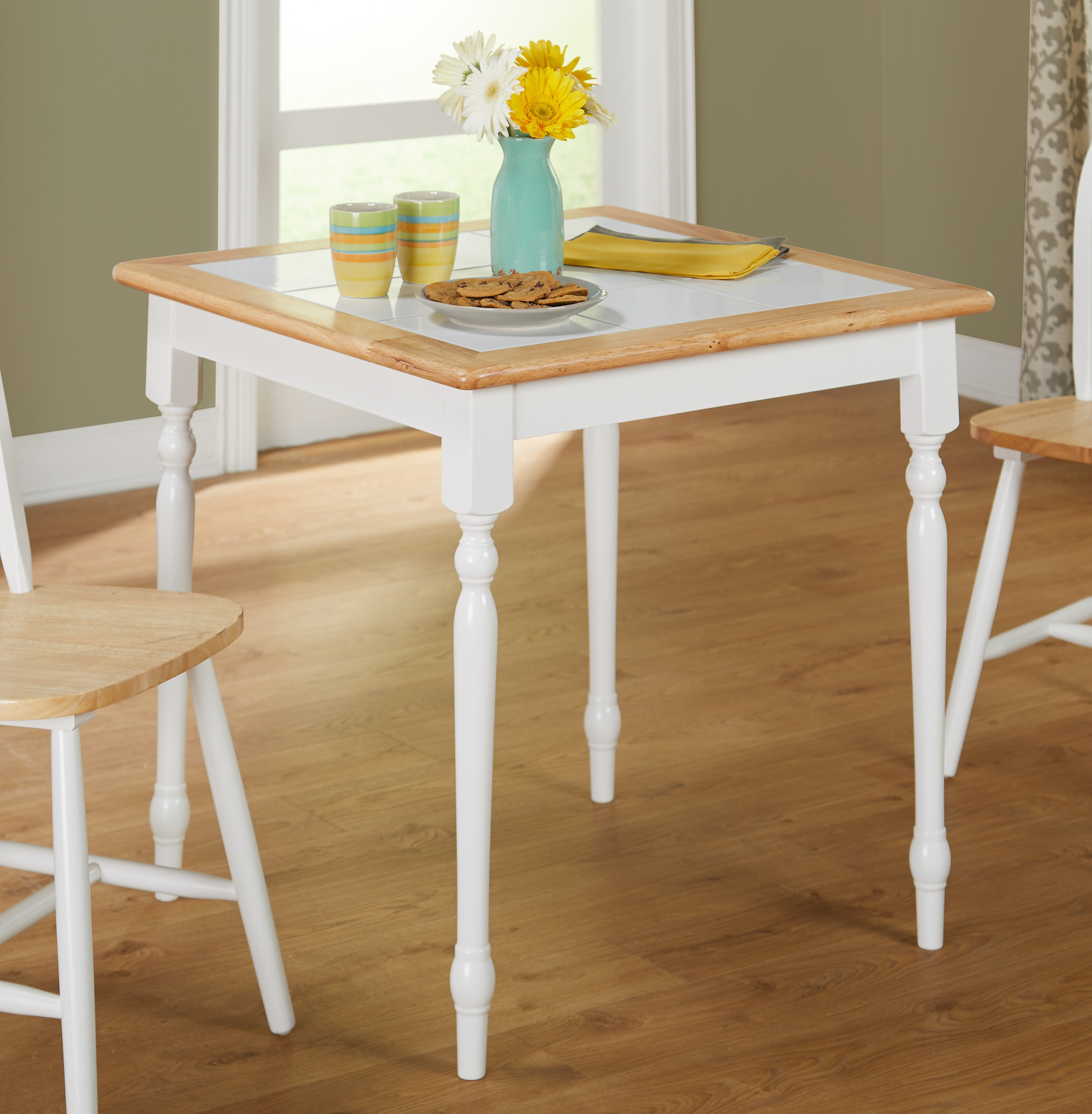 Tile Top Dining Table, White/Natural