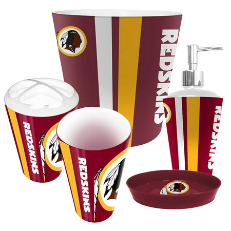 Washington redskins nfl complete bathroom accessories 5pc for Bathroom accessories at walmart