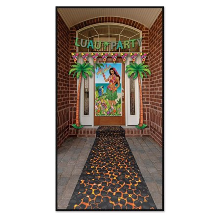 Pack of 6 Tropical Luau Themed Hot Coals Path Runner Party Decorations - Luau Decorations Cheap