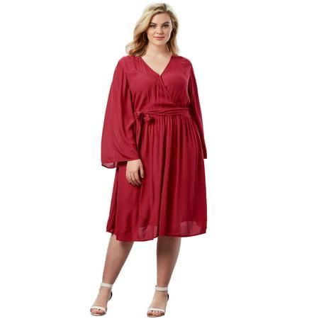 Roaman's Plus Size Bell-sleeve Wrap Dress In Crinkle