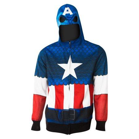 Captain America Full Zip Costume Hoodie](Captain America Zip Up Hoodie)