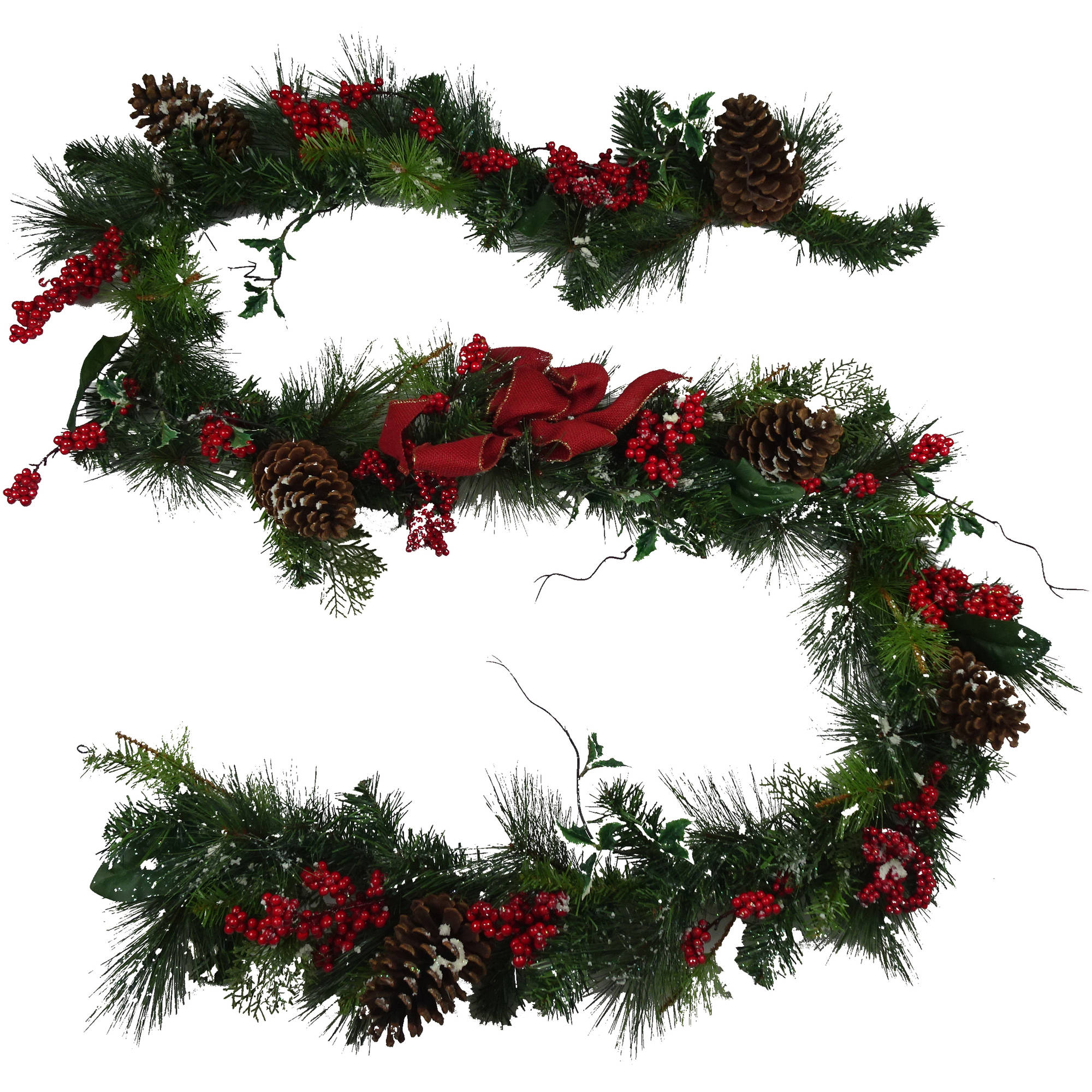 Holiday Time Christmas Decor 9' Deluxe Decorated Snowing Holly Berry Garland
