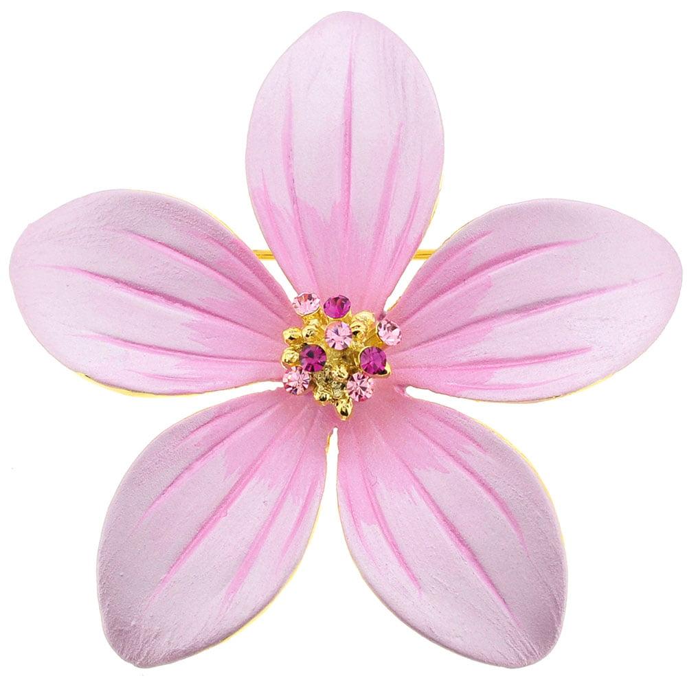Pink Hawaiian Flower Swarovski Crystal Pin Brooch by