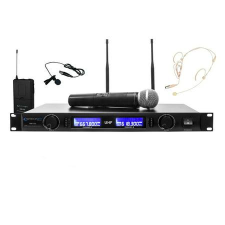 Technical Pro Professional UHF Dual Wireless Microphone Lapel & Headset (Dual Headset Wireless Microphone)