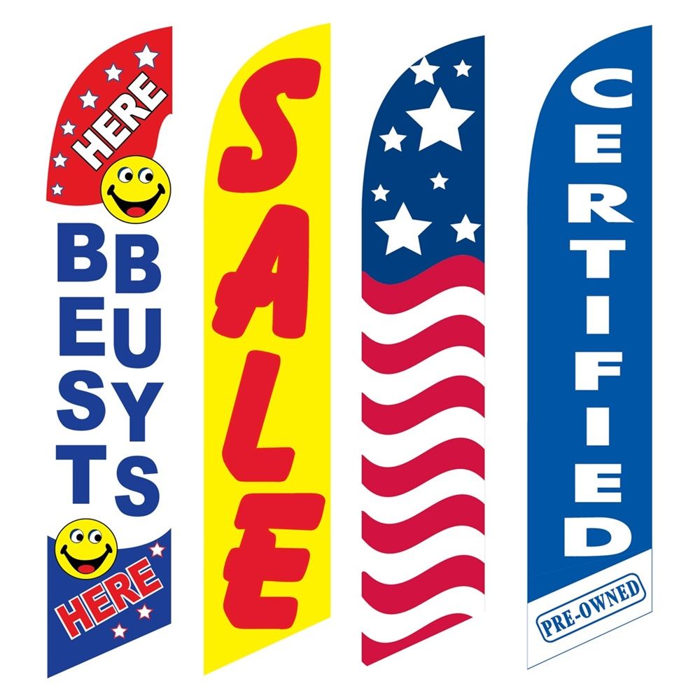 4 Advertising Swooper Flags Best Buys Here Sale USA Certified Pre Owned