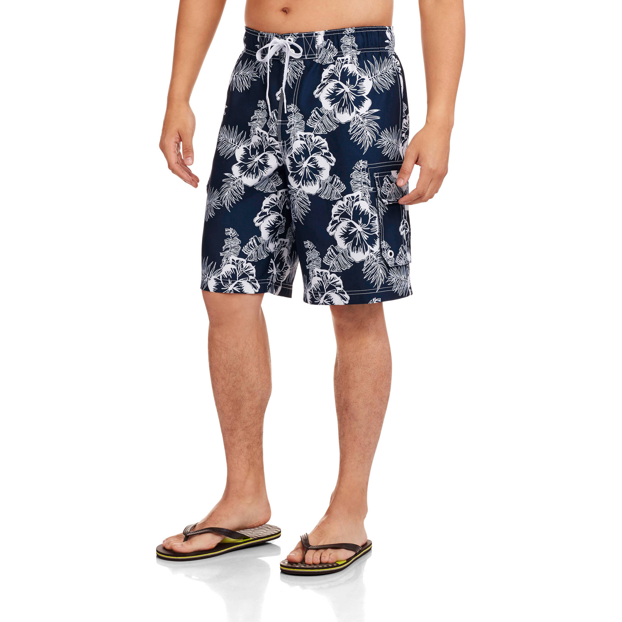 Op Men's Elastic Waist Solid Hibiscus Board Shorts