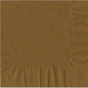200 -  (4 Pks of 50) 2 Ply Plain Solid Colors Luncheon Dinner Napkins Paper - Gold