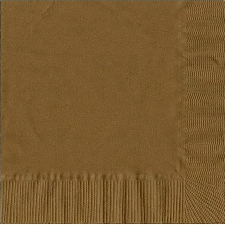Golf Napkins - 200 -  (4 Pks of 50) 2 Ply Plain Solid Colors Luncheon Dinner Napkins Paper - Gold