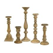 Set of 5 Mason Natural Wash Wood Candleholders