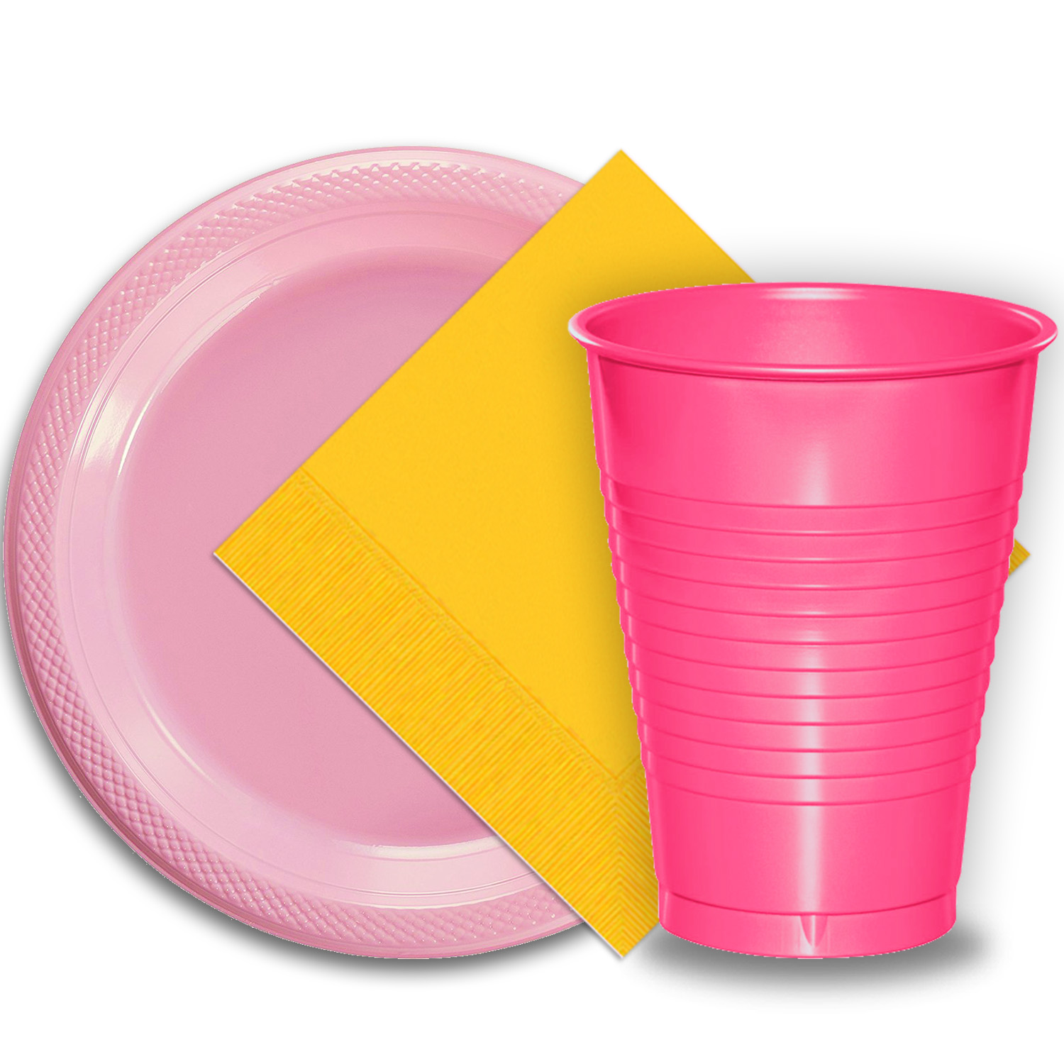 "50 Pink Plastic Plates (9""), 50 Hot Pink Plastic Cups (12 oz.), and 50 Yellow Paper Napkins, Dazzelling Colored Disposable Party Supplies Tableware Set for Fifty Guests."