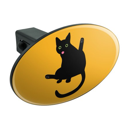Black Cat Lifting Leg and Licking Oval Tow Hitch Cover Trailer Plug Insert 1 1/4 inch