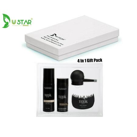 TOPPIK 4 In 1 Gift Pack,Comb,Applicator,FiberHold Spray, MED BROWN fibers 27.5g 0.97oz (Toppik Hair Fibers)