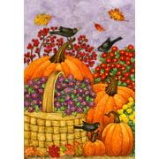 """Basket Of Mums Fall House Flag Pumpkin Flower Bird Decorative Autumn 28"""" x 40"""""""