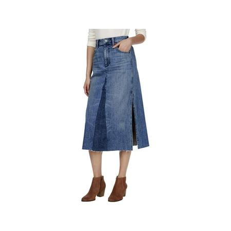 Lucky Brand Womens Side Slit Below Knee Denim Skirt Blue 0 Drift Side Skirts