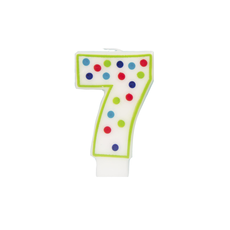 Polka Dot Number 7 Birthday Candle