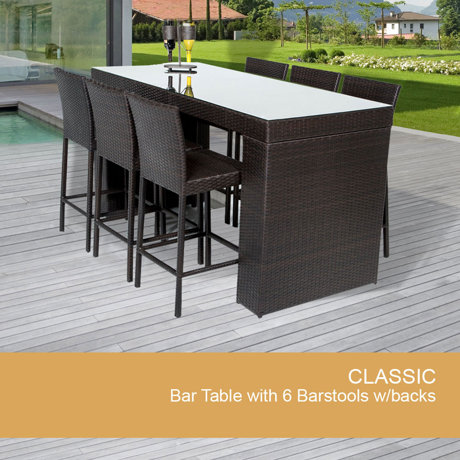 Bar Table Set With Barstools 7 Piece Outdoor Wicker Patio Furniture    Walmart.com