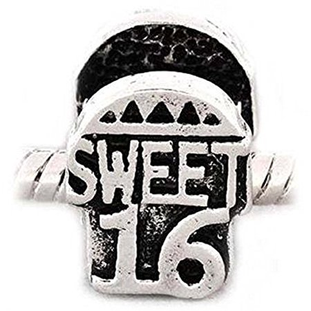 Buckets of Beads Sweet 16 Birthday Charm Beads Fits Most Major Charm Bracelets For Women Girls