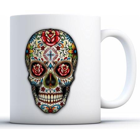 Awkward Styles Rose Eyes Skull Coffee Mug Skull Mugs Skull Coffee Mug Skull Gifts Day of the Dead Party Supplies Dia de los Muertos Gifts (Dia De Los Muertos Supplies)