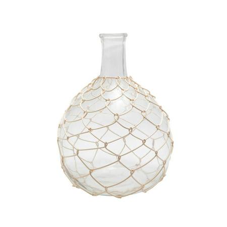 15'' Glassed White Layered Bottleneck Woven Bamboo Vase White Woven Bamboo