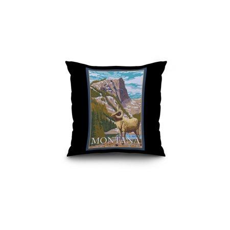 Montana, Last Best Place - Big Horn Sheep - Lantern Press Original Poster (16x16 Spun Polyester Pillow, Black