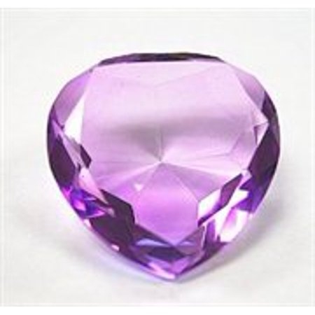 Glass Diamond Heart Jewel Paperweight- Light Purple (Amethyst) (80mm)