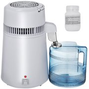 VEVOR Stainless Steel Water Distiller 750W Water Distillation Kit 1.1 Gallon/4 L Home Countertop Connection Bottle Food-Grade Outlet Glass Container (White)