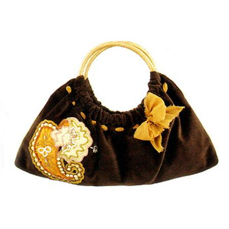 Maggi B Soft Touch Velour Brown Paisley Appliqué Clutch Bag