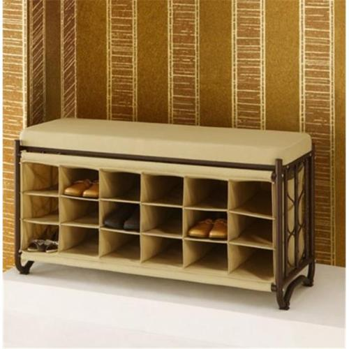 Bench with Shoe Cubbies in Tan