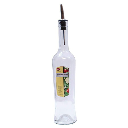 Tablecraft 17 oz. Sottile Clear Glass Bottle with Stainless Steel Pourer Steel Clear Glass