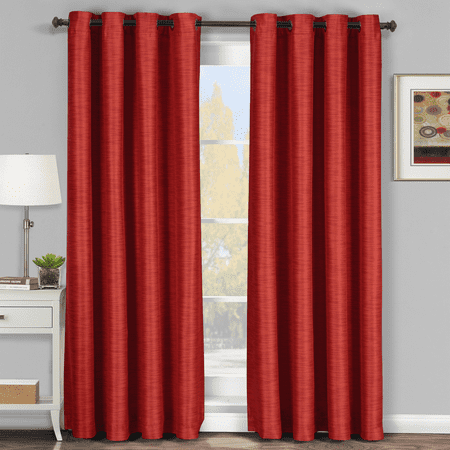 Galleria Room Darkening Thermal insulated Tonal Stripe Panels (Single) - 54x84 - Red - Navy Damask Stripe