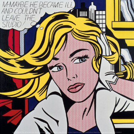 M-Maybe a Girls Picture 1965 Poster Print by Roy Lichtenstein (12 x 12)